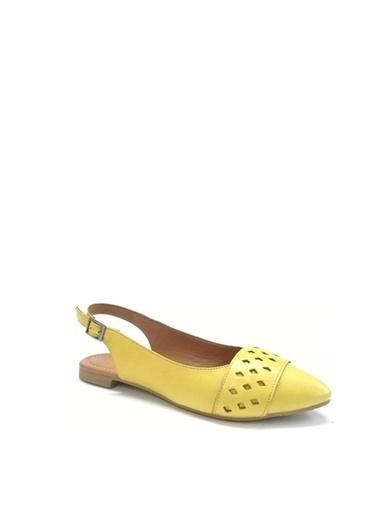 Ballerins Hakiki Deri El Yapımı Sarı Babet Blrs-130 Sarı